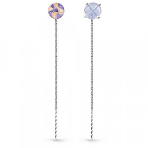 925 Sterling Silver pair earrings with glass and enamel