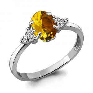 925 Sterling Silver women's rings with citrine