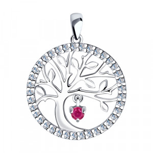 925 Sterling Silver pendants with synthetic corundum and cubic zirconia