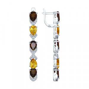 925 Sterling Silver pair earrings with citrine and synthetic quartz