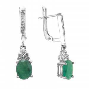 925 Sterling Silver pair earrings with cubic zirconia and emerald