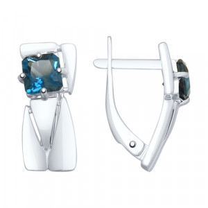 925 Sterling Silver pair earrings with topaz and london topaz