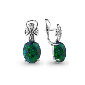 925 Sterling Silver pair earrings with cubic zirconia and opal