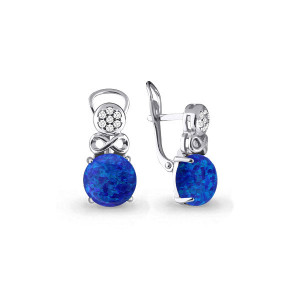 925 Sterling Silver pair earrings with synthetic blue opal and cubic zirconia