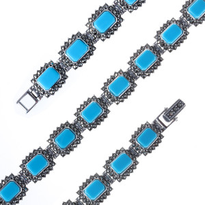 925 Sterling Silver bracelets with marcasite and synthetic turquoise