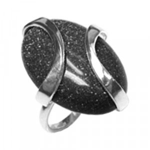925 Sterling Silver women's ring with jade and moonstone