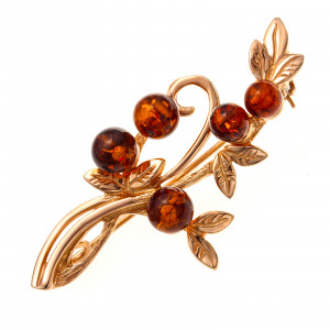 925 Sterling Silver brooches with amber and