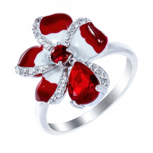 925 Sterling Silver women's ring with cubic zirconia and enamel