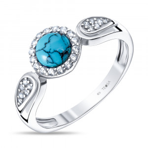 925 Sterling Silver women's rings with synthetic turquoise and cubic zirconia