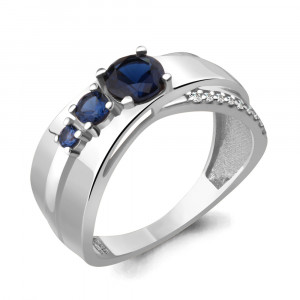 925 Sterling Silver women's rings with nano sapphire and cubic zirconia