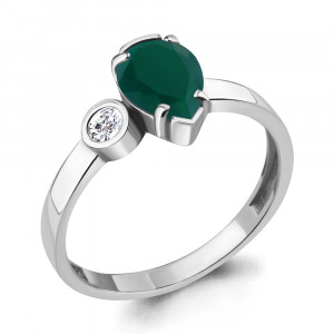 925 Sterling Silver women's rings with green agate and cubic zirconia