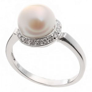 925 Sterling Silver women's ring with cubic zirconia and pearl cult.