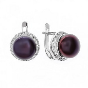 925 Sterling Silver pair earrings with black cultivated pearls