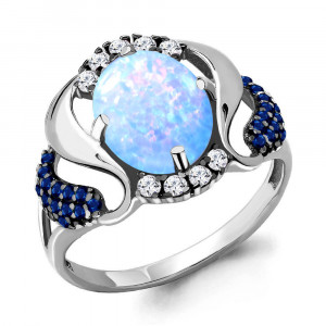 925 Sterling Silver women's rings with opal and cubic zirconia