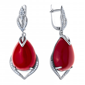 925 Sterling Silver pair earrings with synthetic coral and cubic zirconia