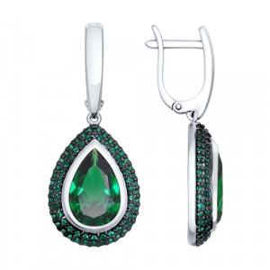 925 Sterling Silver pair earrings with sitall and nano sitall
