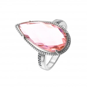 925 Sterling Silver women's rings with morganite and