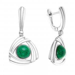 925 Sterling Silver pair earrings with synthetic malachite