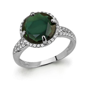 925 Sterling Silver women's rings with cubic zirconia and tourmaline