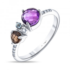 925 Sterling Silver women's rings with topaz and amethyst