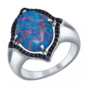 925 Sterling Silver women's rings with amethyst and synthetic opal