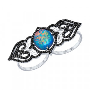 925 Sterling Silver women's rings with cubic zirconia and synthetic opal