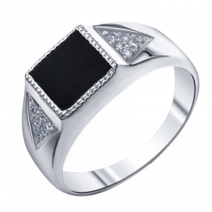 925 Sterling Silver seals with cubic zirconia and onyx