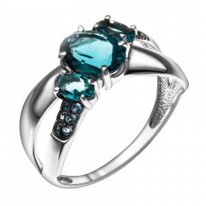925 Sterling Silver women's rings with london topaz and