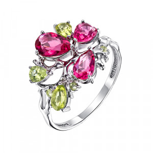 925 Sterling Silver women's rings with rubellite