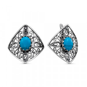 925 Sterling Silver pair earrings with turquoise imitation and turquoise