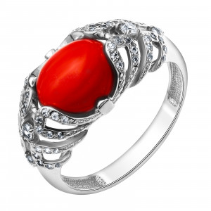925 Sterling Silver women's rings with coral and cubic zirconia