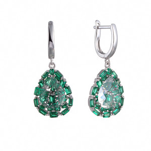 925 Sterling Silver pair earrings with cubic zircon and synthetic rubin