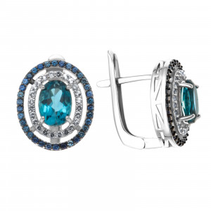 925 Sterling Silver pair earrings with  and white topaz