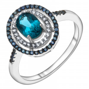 925 Sterling Silver women's rings with  and white topaz