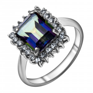925 Sterling Silver women's rings with mystic quartz and cubic zirconia