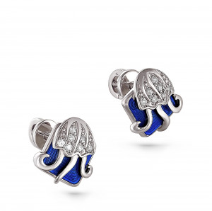 925 Sterling Silver pair earrings with cubic zirconia swarovski and enamel