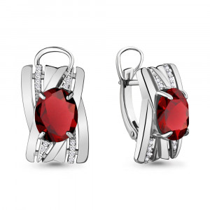 925 Sterling Silver pair earrings with nano grenades and cubic zirconia