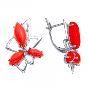 925 Sterling Silver pair earrings with coral and synthetic coral