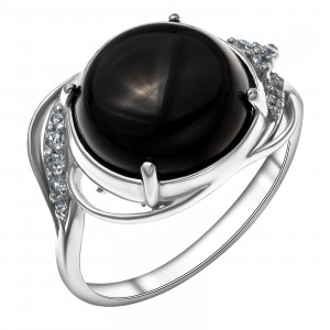 925 Sterling Silver women's rings with agate and black agate