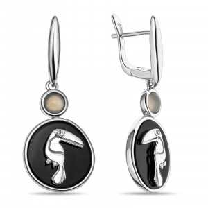 925 Sterling Silver pair earrings with moonstone and onyx