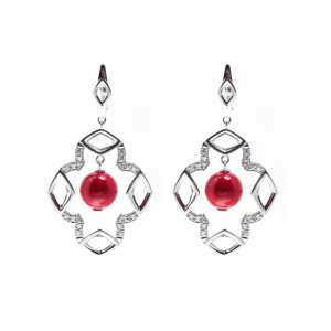 925 Sterling Silver pair earrings with majolica