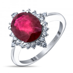 925 Sterling Silver women's rings with rubin and