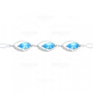925 Sterling Silver bracelets with cubic zirconia and topaz