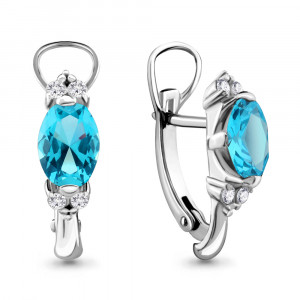 925 Sterling Silver pair earrings with  and topaz