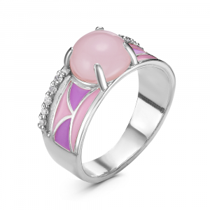 925 Sterling Silver women's rings with pink quartz and cubic zirconia