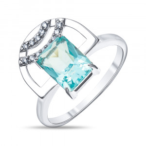 925 Sterling Silver women's rings with cubic zirconia and quartz pl. topaz