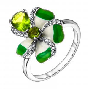 925 Sterling Silver women's rings with cubic zirconia and alpana