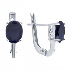 925 Sterling Silver pair earrings with  and corundum