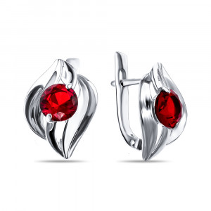 925 Sterling Silver pair earrings with multicolor cubic zirconia and
