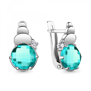 925 Sterling Silver pair earrings with nano-tourmaline and cubic zirconia